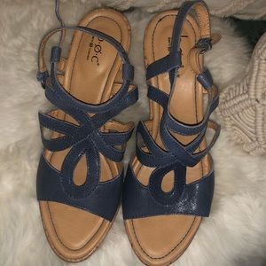 Navy Blue Leather Born Wedges
